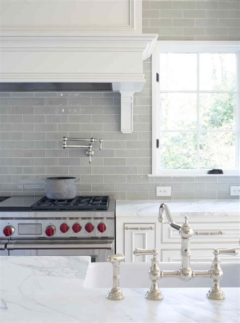 White Glass Subway Tile Kitchen Backsplash Smoke Glass Subway Tile Subway Tile Backsplash White Cabinets And Grey