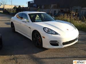Porsche Panamera Wrap Porsche Panamera Metallic White Wrap Vehicle
