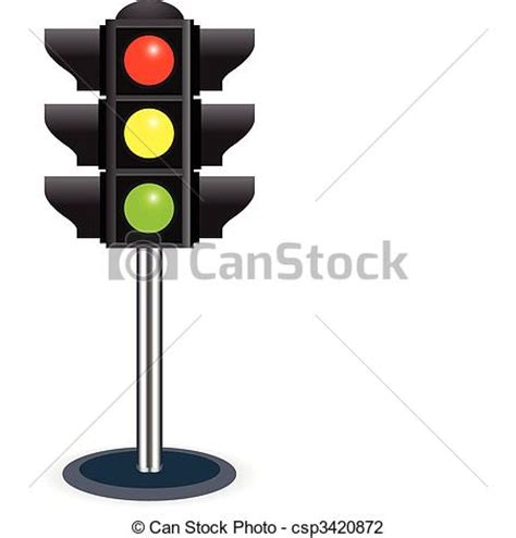 Traffic Light Drawing by Vector Illustration Of Traffic Lights Isolated On White