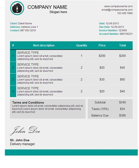 free email invoice template html email invoice template 28