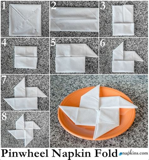 Paper Serviette Folding - pinwheel napkin fold how to fold a napkin