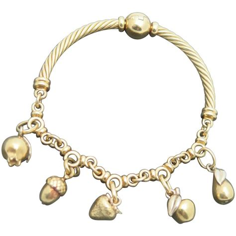 pomellato charms pomellato gold fruit and nut charm bracelet at 1stdibs