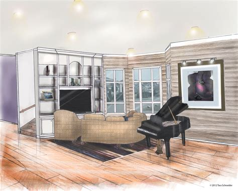 Living Room Drawing Room Modern Living Room Perspective Drawing