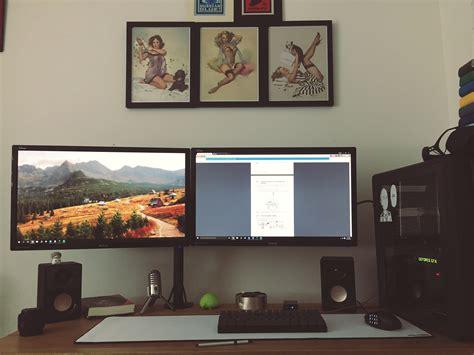 dual monitor desk setup desk for dual monitor setup hostgarcia