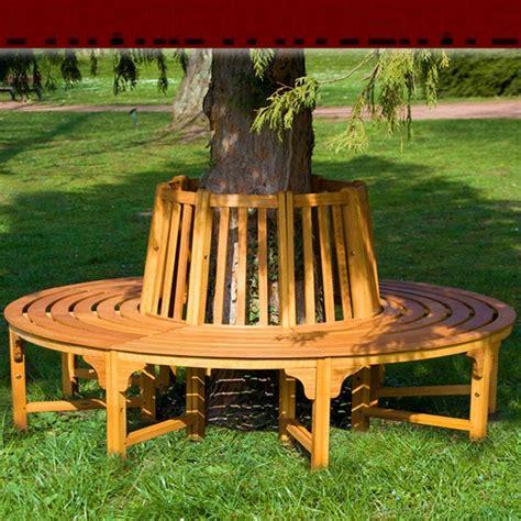 wooden bench around tree banc de jardin rond circulaire en bois tour d arbre bank