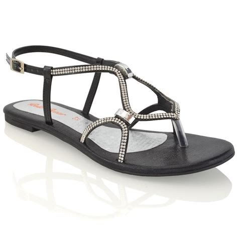 sparkly flat sandals womens flat strappy sandals diamante cut out