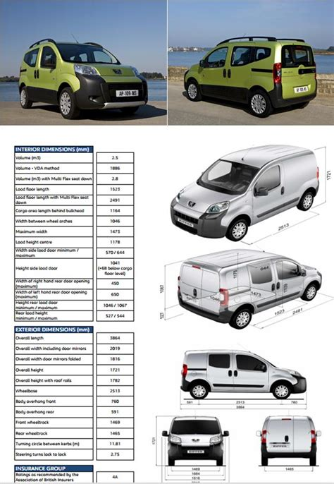 peugeot bipper dimensions recommended innolift model for peugeot bipper