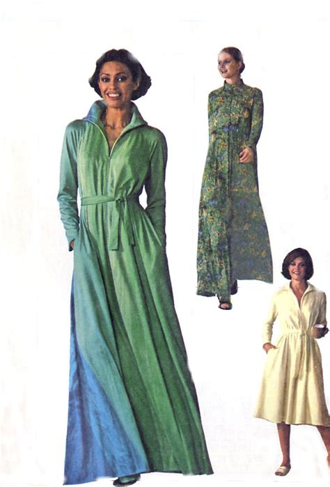 sewing pattern zip front robe 70s plus size caftan robe simplicity 7848 two lengths