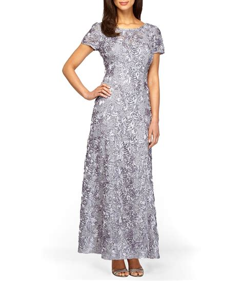 alex evenings sequined lace rosette gown dillards