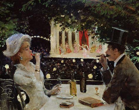 dinner painting dinner at les ambassadeurs painting by jean beraud