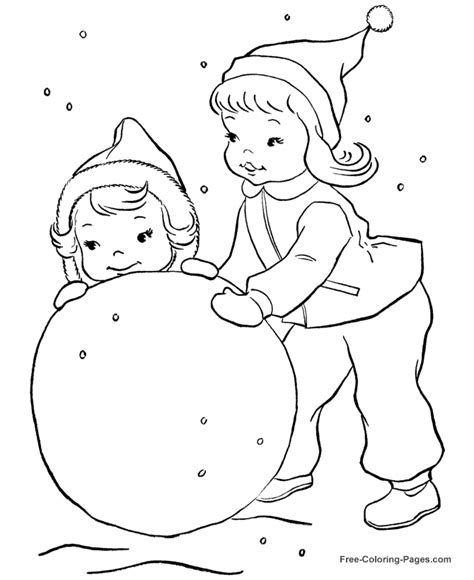 Winter Coloring Sheets Make A Snowman Snow Coloring Page