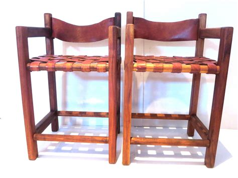 mexican bar stools leather 1960s pair of tall leather strap arm bar stools mexican