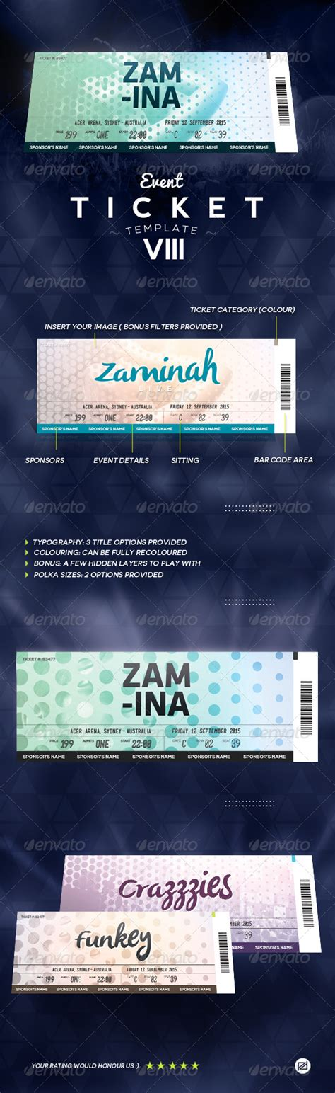 Event Ticket Template 8 By Patoodesign Graphicriver Event Ticket Printing Template