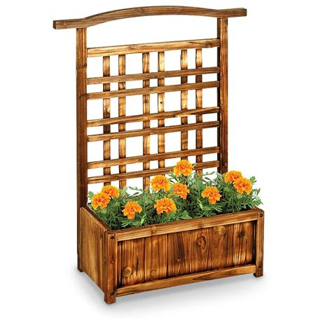 Wooden Planters With Trellis by Wooden Planter Box Trellis 581062 Decorative