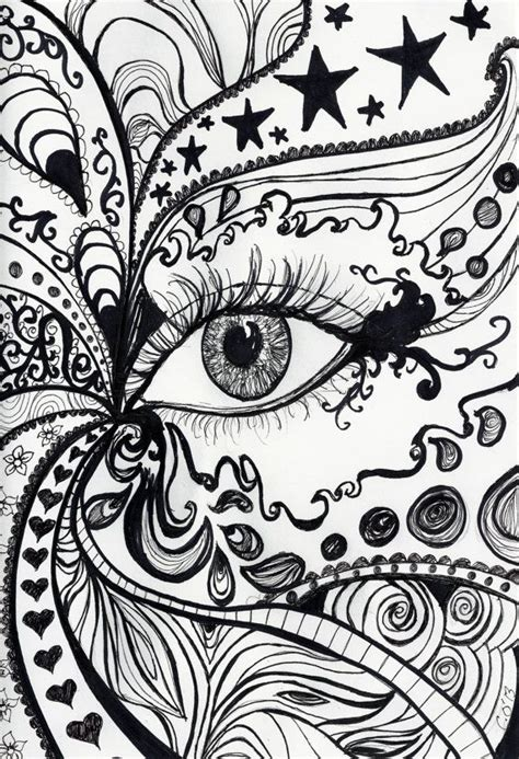 eye pattern drawing a4 print of original pen and ink drawing abstract eye