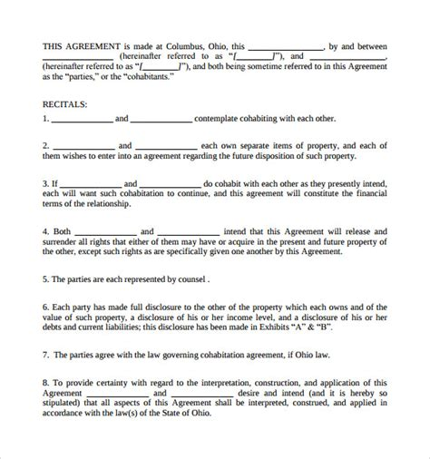 cohabitation agreement template free cohabitation agreement template 9 sles exles