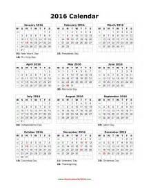 Blank holidays calendar 2016 portrait