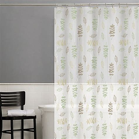 sage shower curtains buy foliage peva shower curtain in sage from bed bath beyond