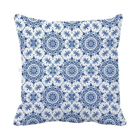 Blue And White Decorative Pillows Custom Style Blue And White Porcelain Geometric