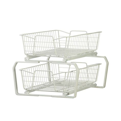 sliding wire baskets for kitchen cabinets closetmaid 12 11 in w 2 tier ventilated wire sliding