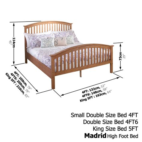 Solid Oak Bed Frame 4ft 6 Quot Free Next Day Delivery Madrid Solid Wooden Bedstead High Foot Bed Frame 3ft 4ft