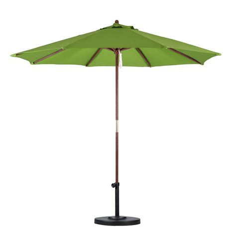 Brown Patio Umbrella Hton Bay 9 Ft Wood Patio Umbrella In Brown 9939 01297802 The Home Depot
