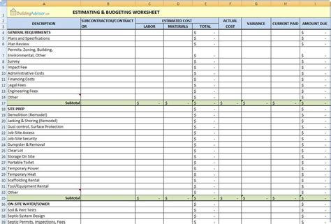 excel templates for construction estimating excel templates construction estimating free and building