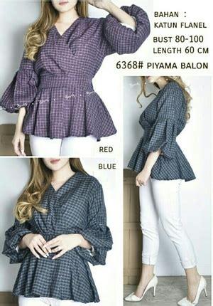 Blouse Kotak Kotak Sale B254 Atasan Panjang Fashion Wanita Simple baju atasan wanita lengan balon desain kimono motif kotak