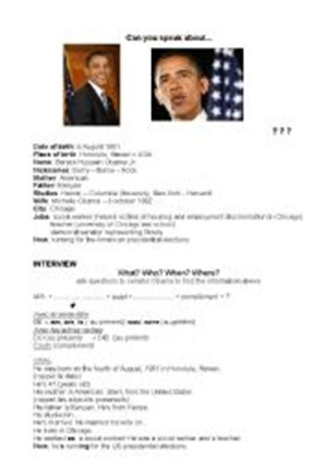 barack obama biography easy english english teaching worksheets obama