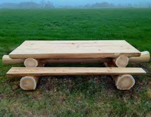 Picnic Table And Bench Solid Western Red Cedar Log Picnic Table
