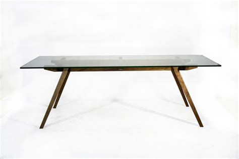 Glass Dining Room Table With White Base Recoleta Dining Table Glass Top Walnut Base Glass Top