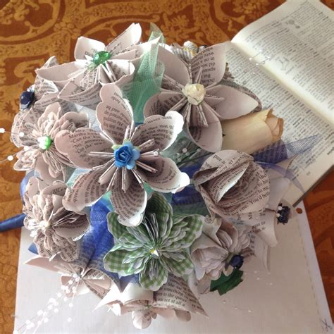 Wedding Bouquet Made From Books by Book Page Paper Flower Wedding Bouquet 20 Handmade Flowers