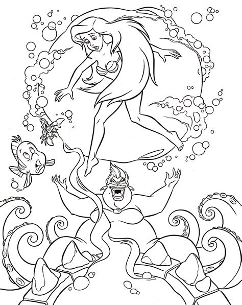 walt disney coloring pages flounder sebastian princess