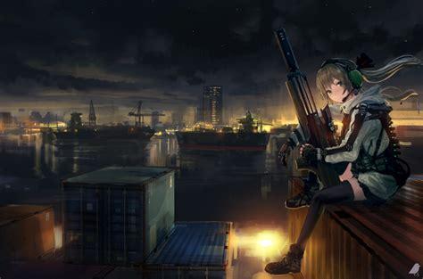 Wallpaper Anime Girl, Soldier, Sitting, Sniper, Artwork