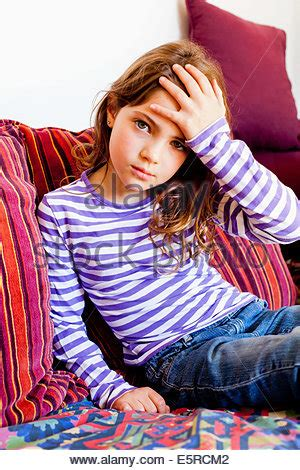 7 year old girl stock photo 7 year old girl looking sick in a car stock photo