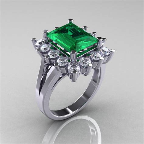 modern 10k white gold 4 0 ct emerald cubic