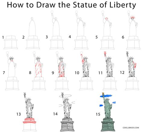 How To Draw The Statue Of Liberty drawing cool2bkids part 5