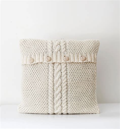 knit pillows cable knitted new pillow cover white milk decorative