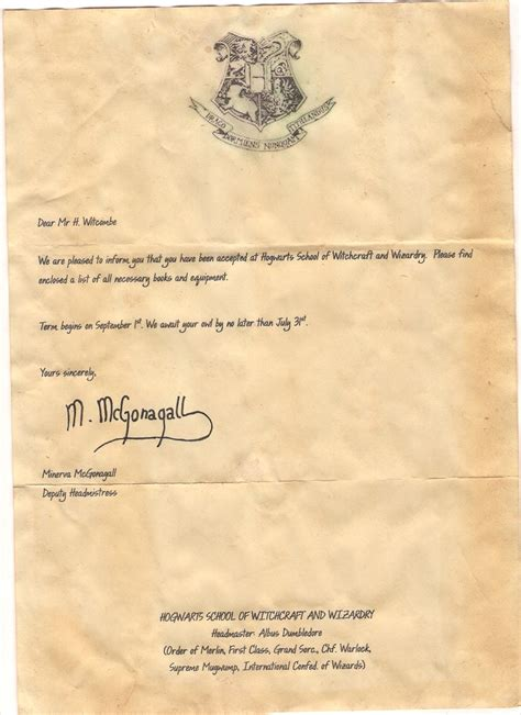page one of the acceptance letter from harry potter that i