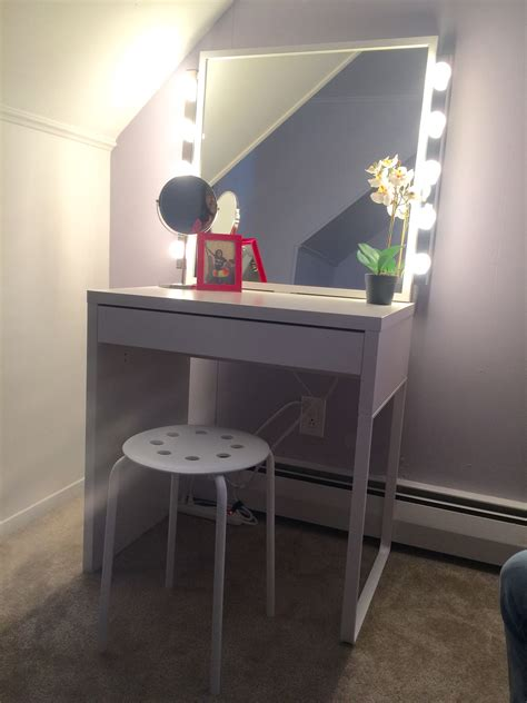 Vanity Desk Mirror With Lights by Made With All Ikea Products Purchased Separately