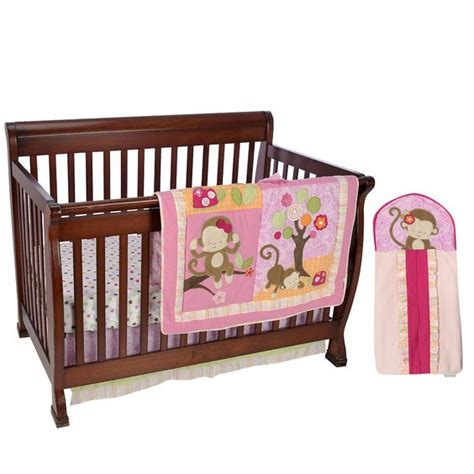 Kids Line Miss Monkey 4 Piece Crib Bedding Set Kids Line Monkey Crib Bedding Sets