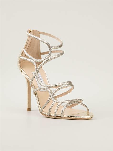 jimmy choo silver sandals jimmy choo sazerac sandals in silver metallic lyst