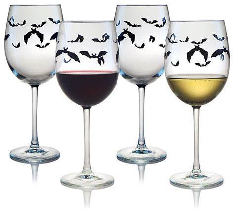 halloween barware halloween barware halloween bats wine glasses set of 4 contemporary
