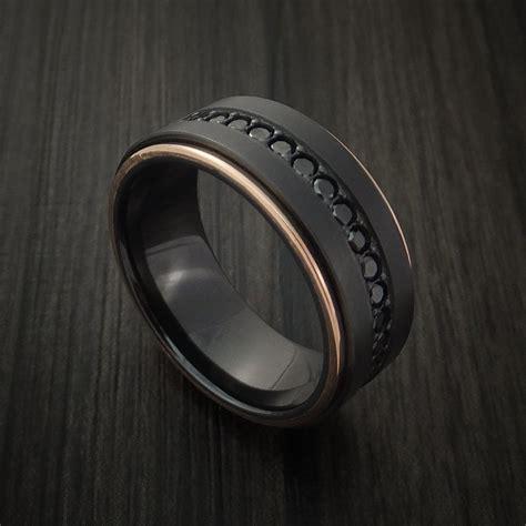 black zirconium and 14k gold band with black diamonds