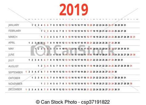 Calendrier Can 2019 Illustration Vecteur De Calendrier 2019 Calendar Pour
