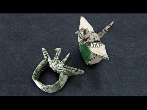 Money Crane Origami - money origami crane ring dollar bill