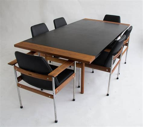 Sven Boardroom Table Leather And Teak Conference Table By Sven Ivar Dysthe For Dokka M 248 Bler At 1stdibs