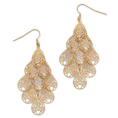 Palmbeach Jewelry Filigree Chandelier Earrings In Yellow Yellow Gold Chandelier Earrings