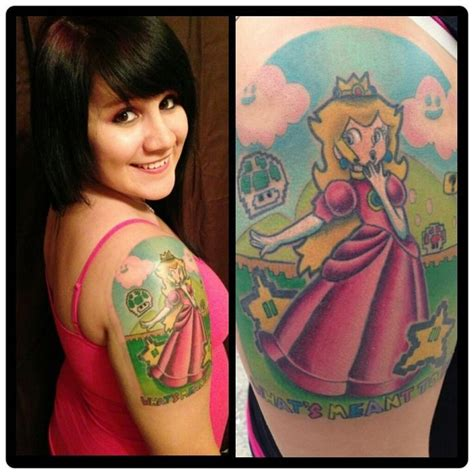 princess peach tattoo princess mario nintedno gaming ink