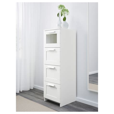 brimnes chest of 4 drawers white frosted glass 39x124 cm